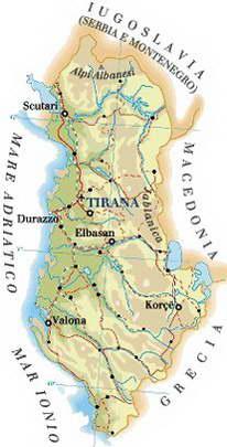 Cartina Albania Fisica.Cartina Dell Albania
