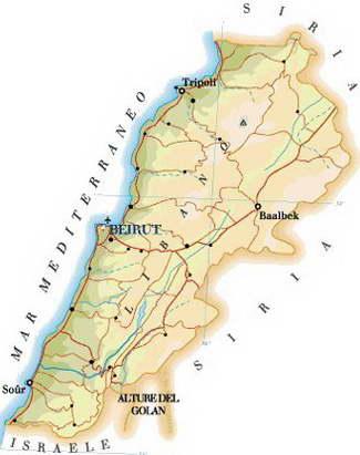 Cartina Del Libano.Cartina Del Libano