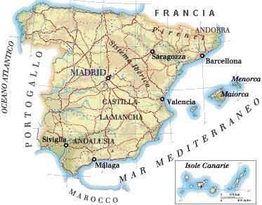 Cartina Spagna.Cartina Della Spagna